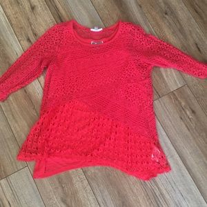 JM Collection Petite Lacey Top with Shell